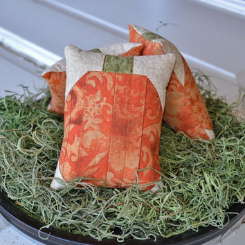 Pumpkin Decorative Pillows - Bowl Fillers - Tucks - Ornies - Autumn - Fall - Tea Dyed - Quilted - Orange - Home Decor