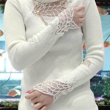 Lace Panel Turtleneck Pullover Sweater