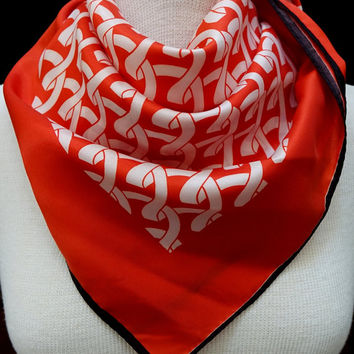 Vintage Red Scarf |  square scarf |  ladies accessory | neck scarf