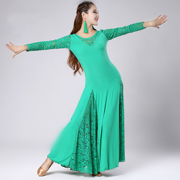 multi color big hemlines flamenco lace ballroom dance competition dress modern dance square dance stage perfromance dance dress