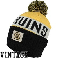 Old Time Hockey Boston Bruins Merit Long Knit Hat with Pom - Black/Gold