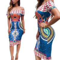 New summer sexy Women geometric pattern ethnic style Dresses-0525
