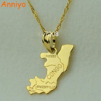 Anniyo (Brazzaville) The republic of congo republique map pendant necklaces afrika women girl gold color jewelry africa