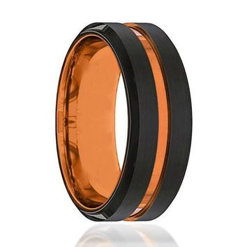 Men's Black Tungsten Wedding Band With Grooved Luscious Orange Inside - 8mm