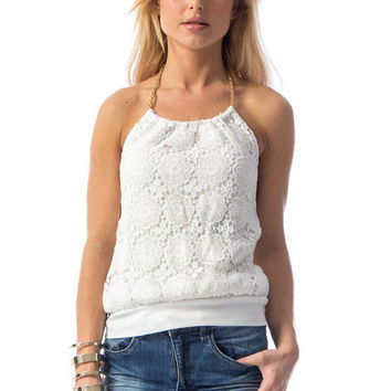 Floral White Out Lace Halter Top