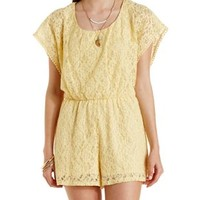 Pom-Pom Trim Lace Romper by Charlotte Russe