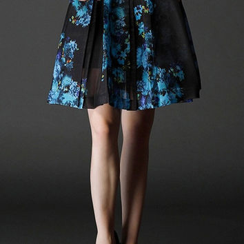 Blue Floral Printed Chiffon Skirt