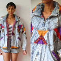 Vtg Patched Acid Wash Padded Quilted Zip Up Bomber Jacket