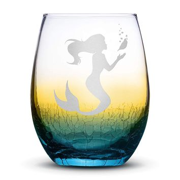 Crackle Ombre Wine Glass, Mermaid #1 Design, Hand Etched, 18oz