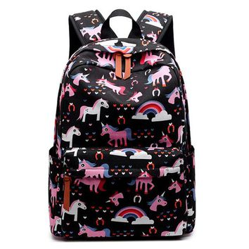 Girls bookbag Cute Canvas Women Backpack Kawaii Flamingos Animal Pattern Printing  College Daily Mochila AT_52_3