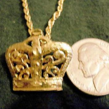 bling gold plated ancient egyptian queen king crown Charm hip hop chain Necklace