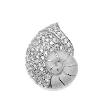 SOLID 925 STERLING SILVER HAWAIIAN NAUTILUS SHELL SLIDE PENDANT CZ RHODIUM