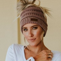 Messy Bun Knitted Beanie - Dusty Purple