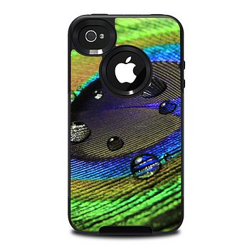 The Watered Neon Peacock Feather Skin for the iPhone 4-4s OtterBox Commuter Case