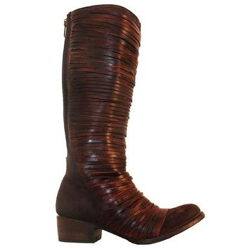 Freebird Logan - Brown Leather/Suede Cord Wrapped Tall Riding Boot