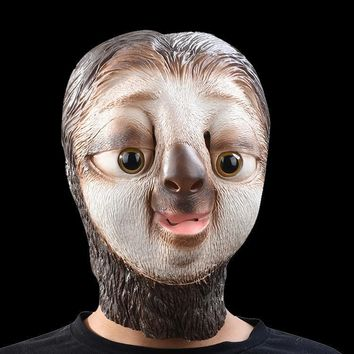 Cute Cartoon Sloth Animal Head Latex Mask Full Face Halloween Masquerade Party Fancy Dress Party Cosplay Costume