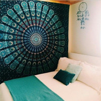 Indian Bohemian Tapestry, Mandala Wall Hanging, Hippie Psychedelic, Dorm Bed sheet