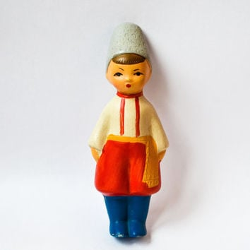 Cute Soviet Vintage Cossack Boy Squeaky Toy / Rare Traditional Ukrainian and Russian Rubber Toy, Circa 1960's early 70's
