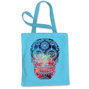 Galaxy Print Sugar Skull Shopping Tote Bag