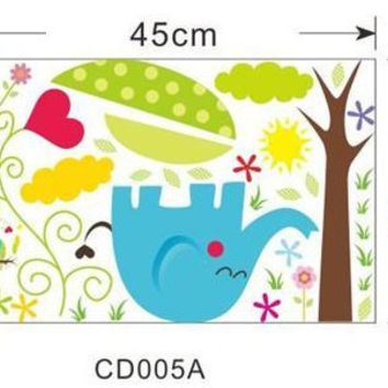 Elephant giraffe owl bear flower tree animal wall stickers for kids room decor zoo decals children cartoon wall art cd005 5.0 SM6