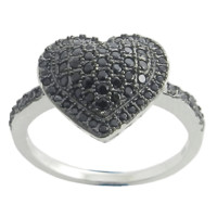 Heart 925 Sterling Silver Black CZ Ring