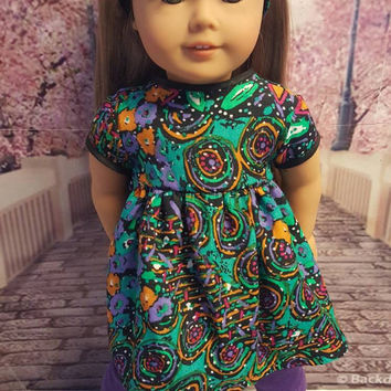 "18 inch doll clothes ""Starry Night"" 18 inch doll outfit ensemble purple multi-colored jewel tones OOAK 123 Mulberry St Pattern"