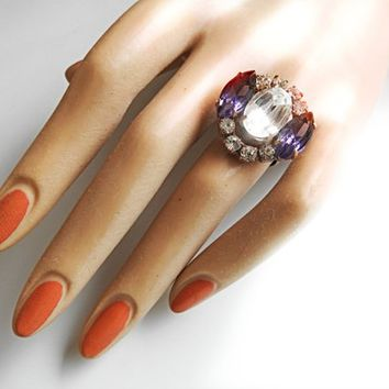 Czech glass jewelry crystal ring gifts for women cheap engagement rings that look expensive white costume exquisite classic stylish fancy
