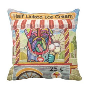 Vintage English Bulldog Ice Cream Cart Throw Pillow