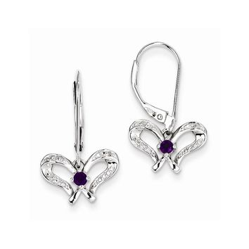Sterling Silver Amethyst & Diamond Butterfly Earrings