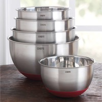 CHEFS Stainless-Steel Mixing Bowl Set with Non-Skid Silicone Bottom, 5 piece | CHEFScatalog.com