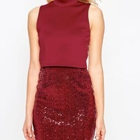 ASOS Crop Top Mini Sequin Skirt Bodycon Dress