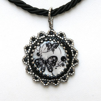 Gothic butterflies bead embroidered pendant necklace with silver tone Miyuki beads ooak handmade jewelry