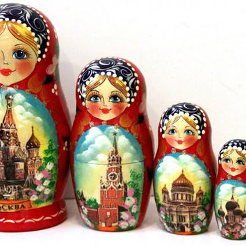 Moscow matreshka traditional russian nesting doll toy collectible decorative curved painted made by hand holiday birthday gift wood linden