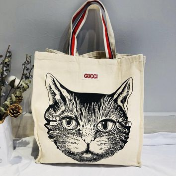 Gucci Cat Print Canvas Shopping Shoulder Bag
