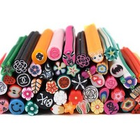 Bundle Monster 50 PC 3D Designs Nail Art Nailart Manicure Fimo Canes Sticks Rods Stickers Gel Tips