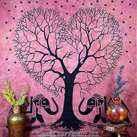 Elephant Love Tree Black & Pink Color Tapestry Indian Bedspread Throw DBS186