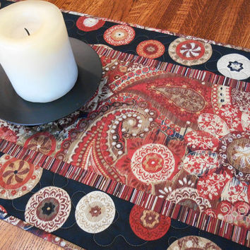 Quilted Table Runner in Bold Modern Rustic Paisley and Suzani Prints Black and Red