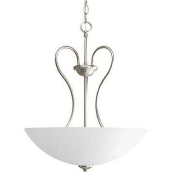 Progress Lighting P3955--09 Heart Brushed Nickel Three-Light Bowl Pendant with Etched Glass Bowl