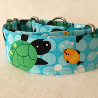 Tossed Sea Turtle Martingale or Quick Release Collar