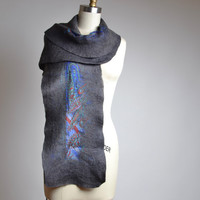 Merino Wool Felted Scarf - Nuno Felted Scarf - Felted Scarf - Wool Silk Scarf - Spring Scarf - Wearable Art - OOAK