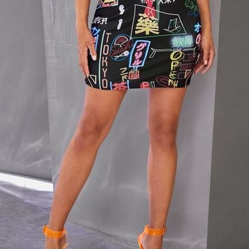 Tokyo Sushi Open 24/7 Graphic Print Bodycon Skirt