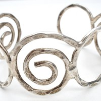 Wide Sterling Silver Wire Work Cuff Bracelet Mexican