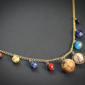 Gemstone Solar System Necklace: Gold // Space, Planet, & Science Themed Jewelry // Gemstone Astronomy Gift for Graduate, Teacher, Nerd, Geek