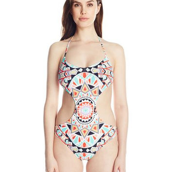 Billabong Swimwear Womens Tiles And Tides One Piece Swimsuit Size Medium