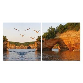 Stone Arches Mounted Photography Print Diptych By Baxton Studio