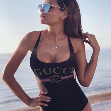 Black GUCCI One Piece Swimsuit Bikini
