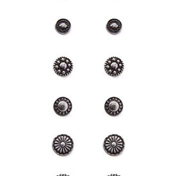 Etched Circle Stud Set