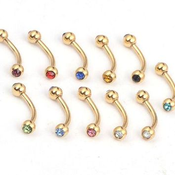 ac PEAPO2Q 10pcs Fashion Random Mix Crystal Eyebrow Rings Gold Stainless Steel Lip Labret Eyebrow Ring For Women Men Body Piercing Jewelry