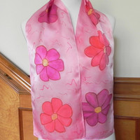 Hand Painted Silk Scarf in Shades of Red & Pink Fiesta Flowers, Ready to Ship