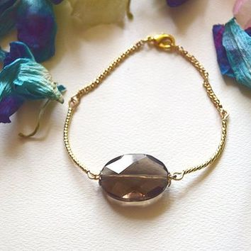 Bracelet gemstone bracelet silver gold bracelet smoked quartz stone re-sizable
